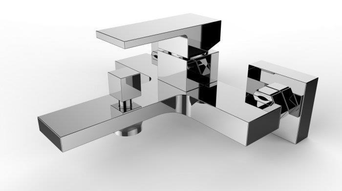 armatur f r badewanne aufputz wand neu chrom bad wannenarmatur quadrato bwn. Black Bedroom Furniture Sets. Home Design Ideas