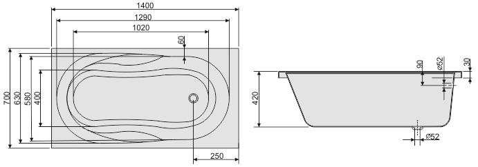 badewanne rechteck acryl 140x70 150x70 160x70 170x70 wanne ablaufgarnitur as wt. Black Bedroom Furniture Sets. Home Design Ideas