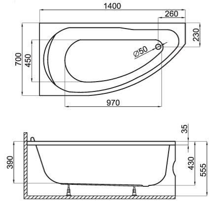 badewanne acryl 140x70 links rechts rechteck sch rze wanne alpin wei miki. Black Bedroom Furniture Sets. Home Design Ideas