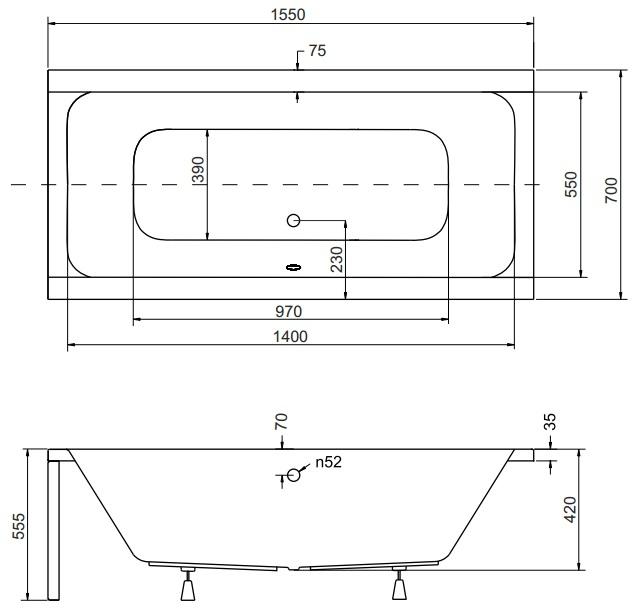 badewanne acryl mit wannentr ger silikon siphon viega rechteck quadro wt sl ebay. Black Bedroom Furniture Sets. Home Design Ideas