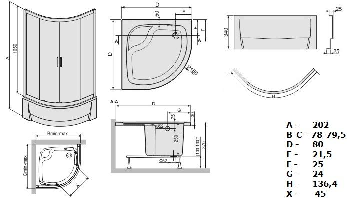kabine duschwanne 80x80x202 90x90x202 viertelkreis acryl. Black Bedroom Furniture Sets. Home Design Ideas
