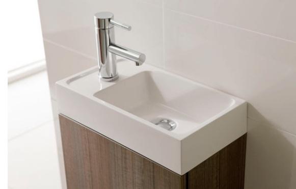 Badmöbel Set Waschbecken Schrank Waschtisch WEIß GRAU  ~ Waschbecken Tisch