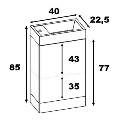 Badmöbel Set Waschbecken Schrank Waschtisch WEIß GRAU