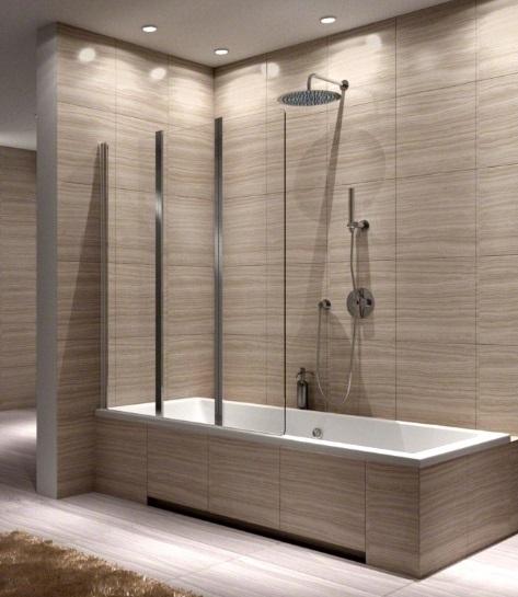 Wundervoll 3-Teile Badewannenfaltwand 140x120 Trennwand Duschabtrennung Glas  IK78