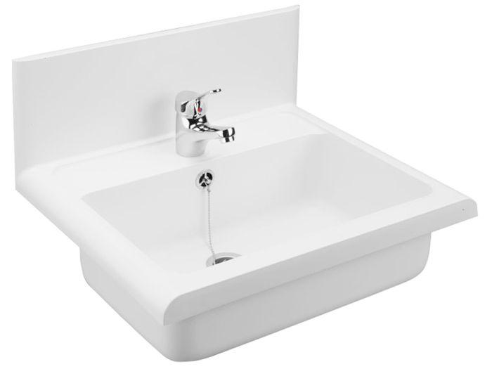 ausgu becken sp le pyramis wei granit sp lbecken 55x45 ablaufgarnitur compact ebay. Black Bedroom Furniture Sets. Home Design Ideas