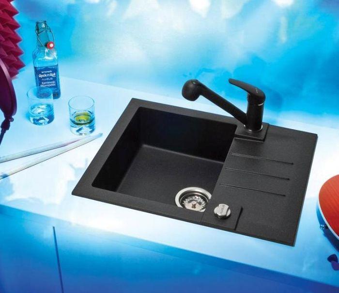 ... 130 Granit Küche Einbauspüle 78 x 48 Schwarz Armatur JANET  eBay