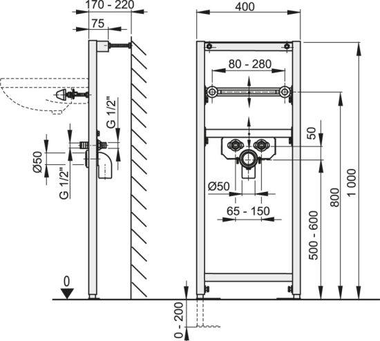 vorwandelement waschbecken waschtisch h nge einbauelement wand 120 100 85 cm ebay. Black Bedroom Furniture Sets. Home Design Ideas