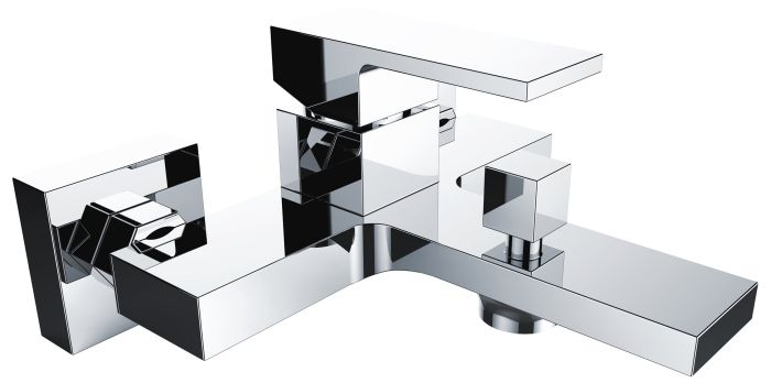 armatur f r badewanne aufputz wand neu chrom bad wannenarmatur quadrato bwn ebay. Black Bedroom Furniture Sets. Home Design Ideas