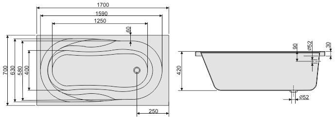 badewanne as rechteck acryl 170x70 alpin wei viega simplex f e styropor v ebay. Black Bedroom Furniture Sets. Home Design Ideas