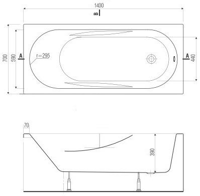 badewanne rechteck acryl alpin wei bad 140 150 160 170x70. Black Bedroom Furniture Sets. Home Design Ideas
