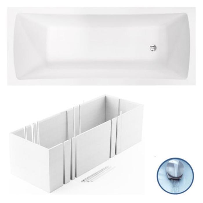 vbcbad badewanne acryl 140 150 160 170x70 mit ab und berlauf tr ger optima wt ebay. Black Bedroom Furniture Sets. Home Design Ideas