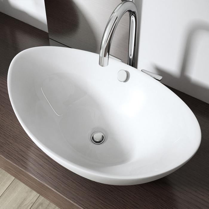 vbcbad design keramik oval waschschale aufsatz waschbecken 59x39x20 wendy ebay. Black Bedroom Furniture Sets. Home Design Ideas