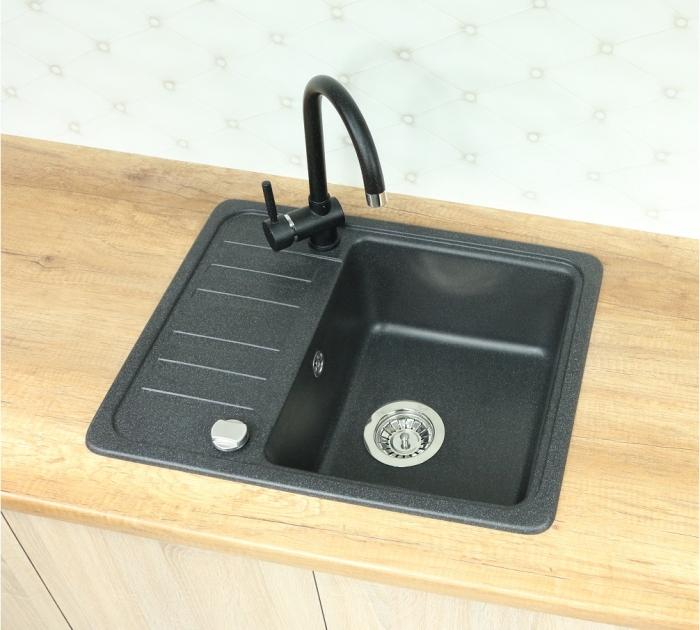 vbckueche sp le sp lbecken granitsp le k che einbausp le 58x46 schwarz beige ne ebay. Black Bedroom Furniture Sets. Home Design Ideas